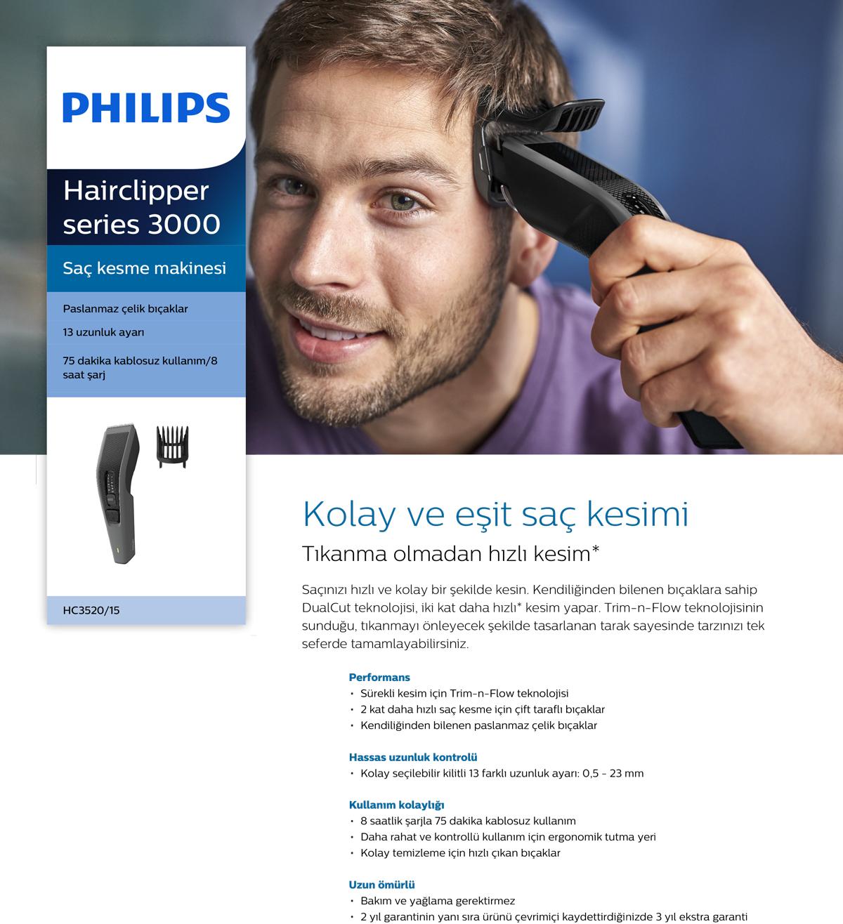 Philips 3000 Serisi Hc3520 15 Sac Kesme Makinesi Fiyatlari Ve